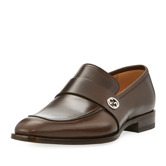 ae6d53772c7 Gucci  Broadwick  Brown Leather GG Loafers